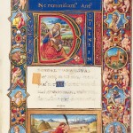 Opening words, with illuminated initial depicting a praying David; bas de page, David kills Goliath