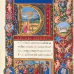 Opening words, with illuminated initial depicting Mary Magdalene below the Cross; bas de page, Mary Magdalene with the Cross