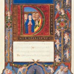 Opening words, with illuminated initial depicting the Pentecost