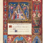 Opening words, with illuminated initial depicting the Presentation of Mary at the Temple